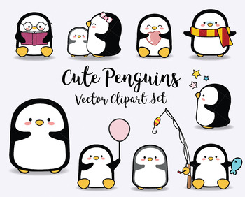 image transparent Vector penguin baby. Clipart cute penguins kawaii