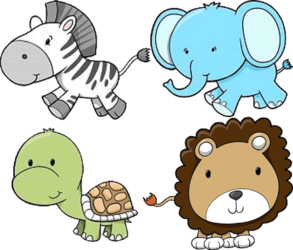 png black and white Baby zoo animals clipart. Animal .