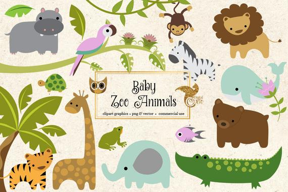 image free download Baby zoo animals clipart. Png and vector clip.