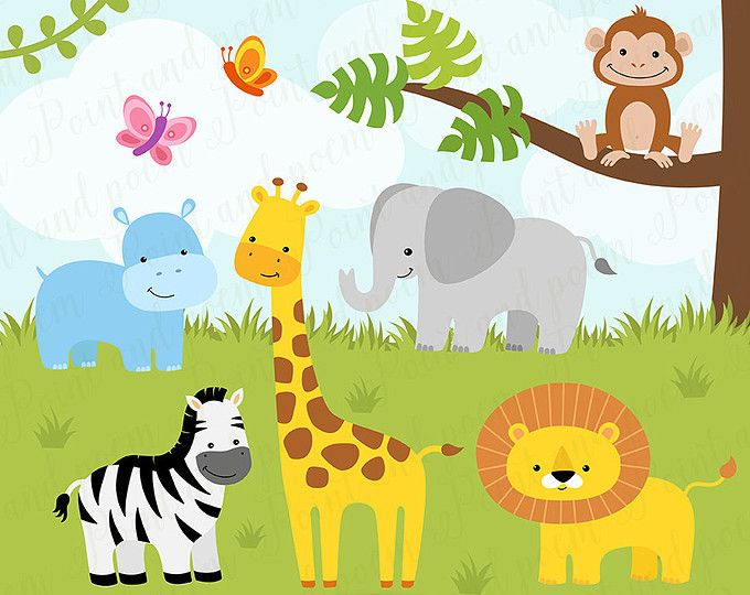 banner freeuse library Jungle clip art digital. Baby zoo animals clipart.