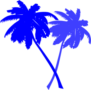 clip art library stock Palm black background . Blue clipart tree.