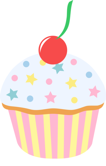 clip art black and white Vanilla Sprinkled Cupcake With Cherry