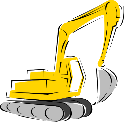 image black and white backhoe clipart