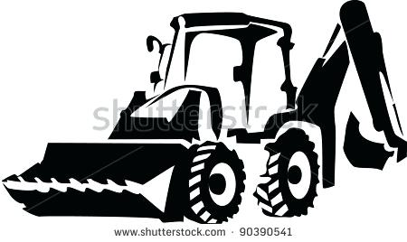 black and white library Backhoe clipart digger. Images clip art excavator