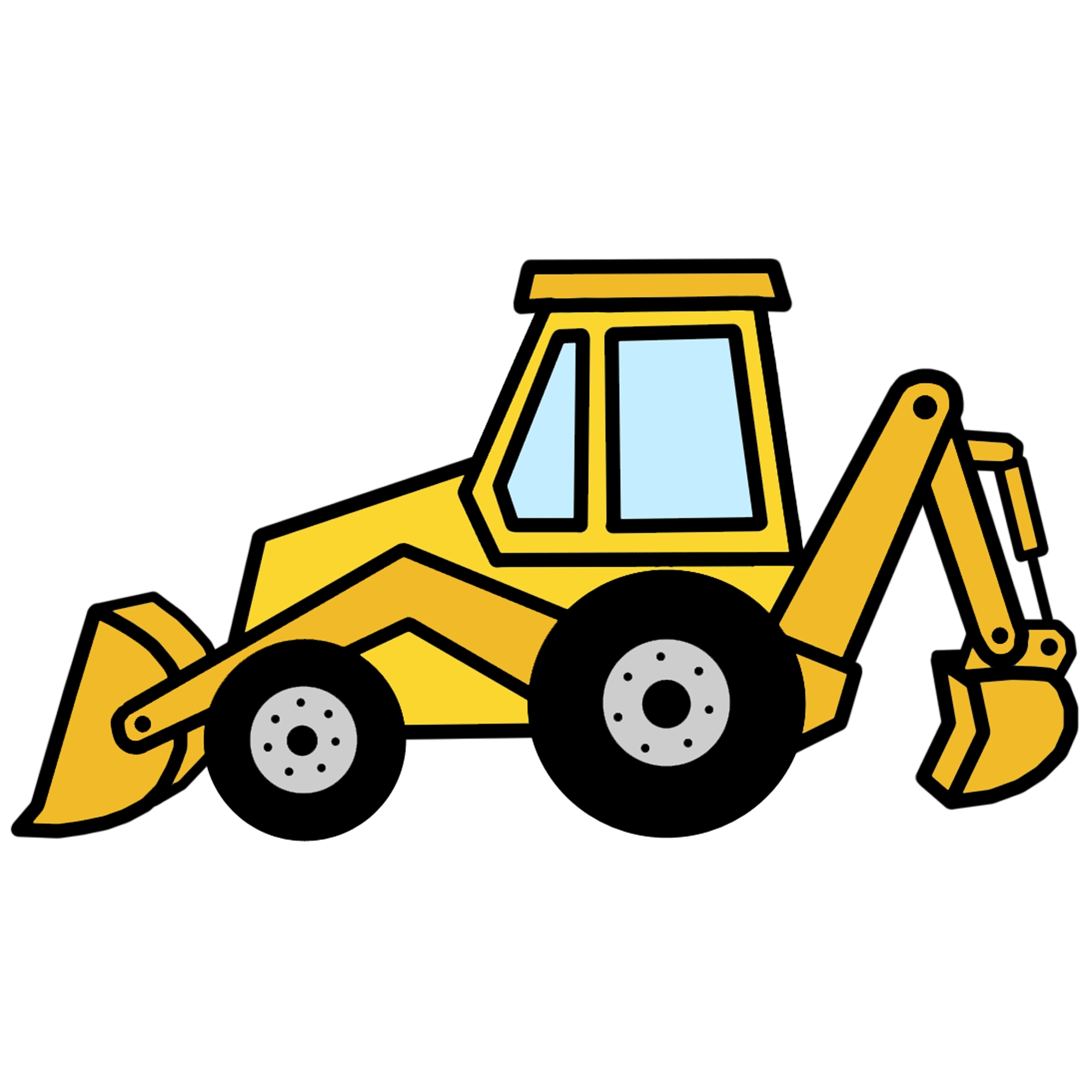 black and white download Backhoe transparent . Bulldozer clipart excavator
