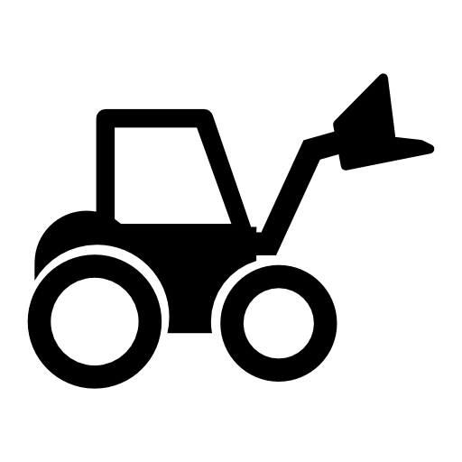 image black and white library Wheel loader tractor free. Backhoe clipart silhouette