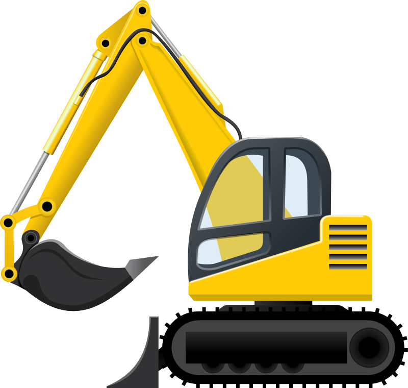 jpg black and white download Trucks drawing bulldozer. Backhoe clipart cilpart stunning.