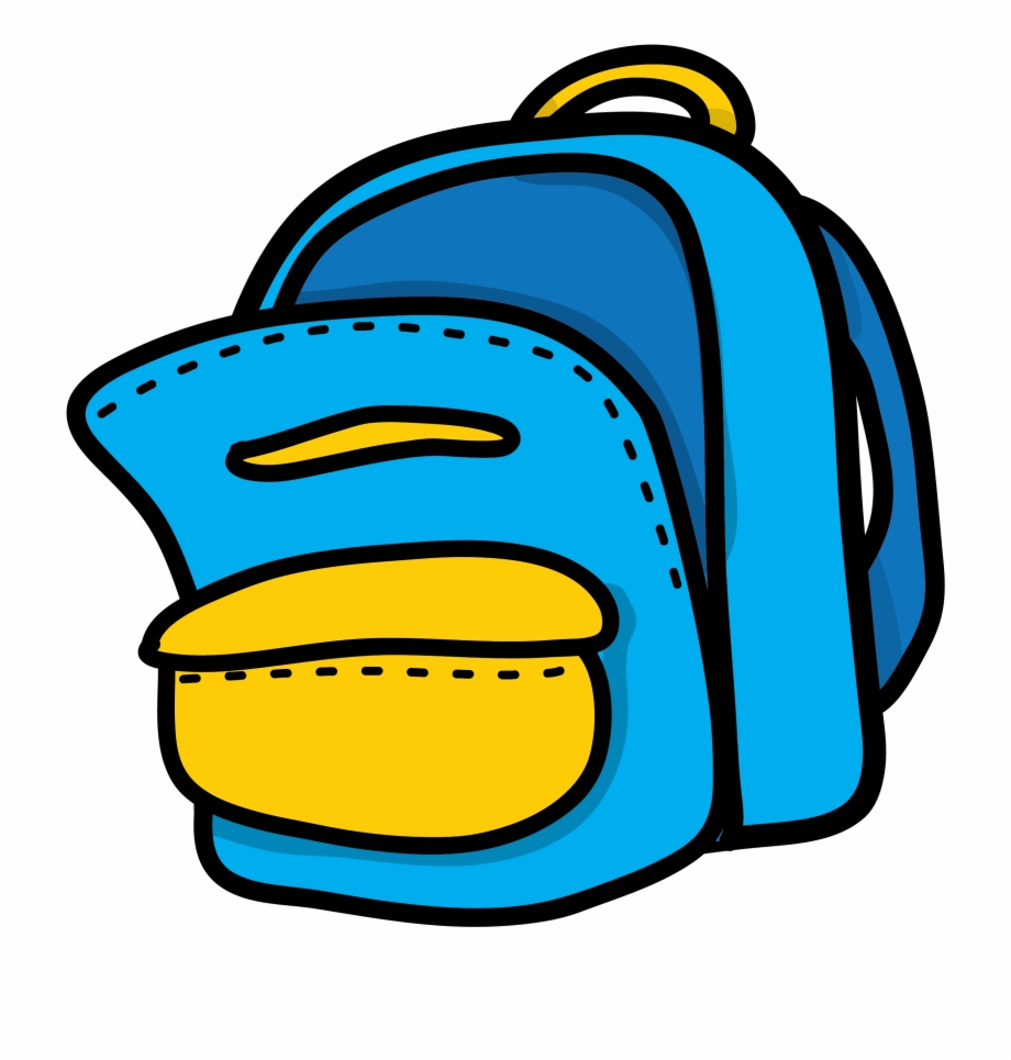 vector free stock Blue yellow mon sac. Backpack clipart.