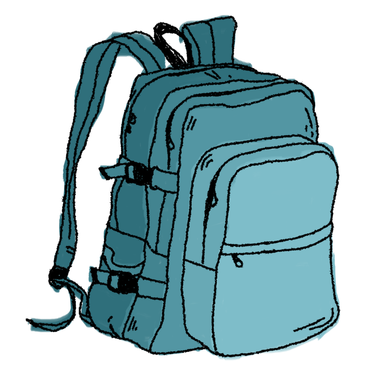 graphic Hiking backpack clip art. Bookbag clipart