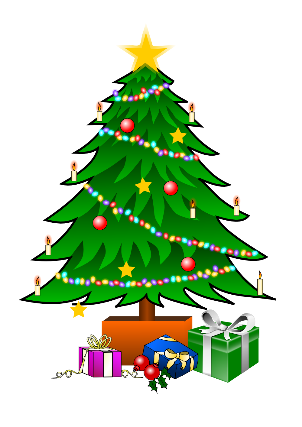 svg royalty free download This nice Christmas tree with presents clip art can be used for