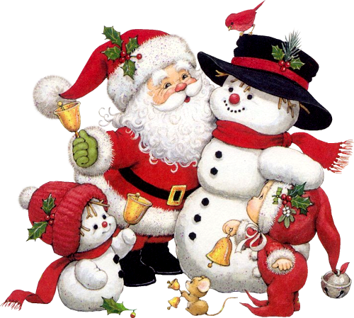 picture free stock Cute Snowman Santa and Kid Clipart