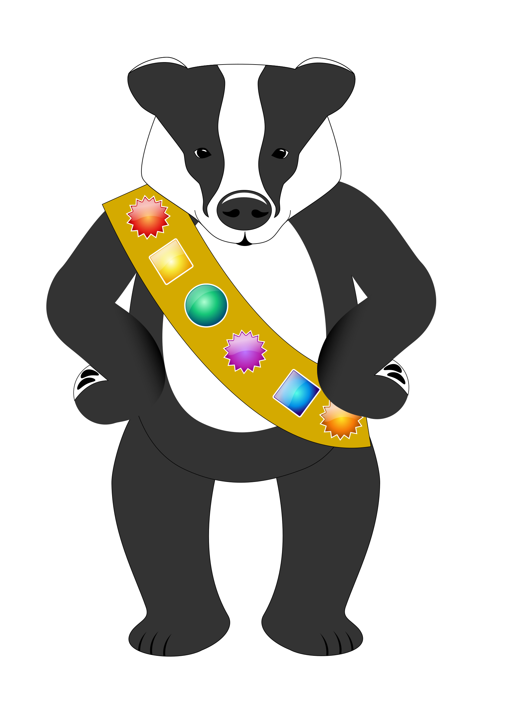 banner free Badger clipart clip art. Badge wearing big image.