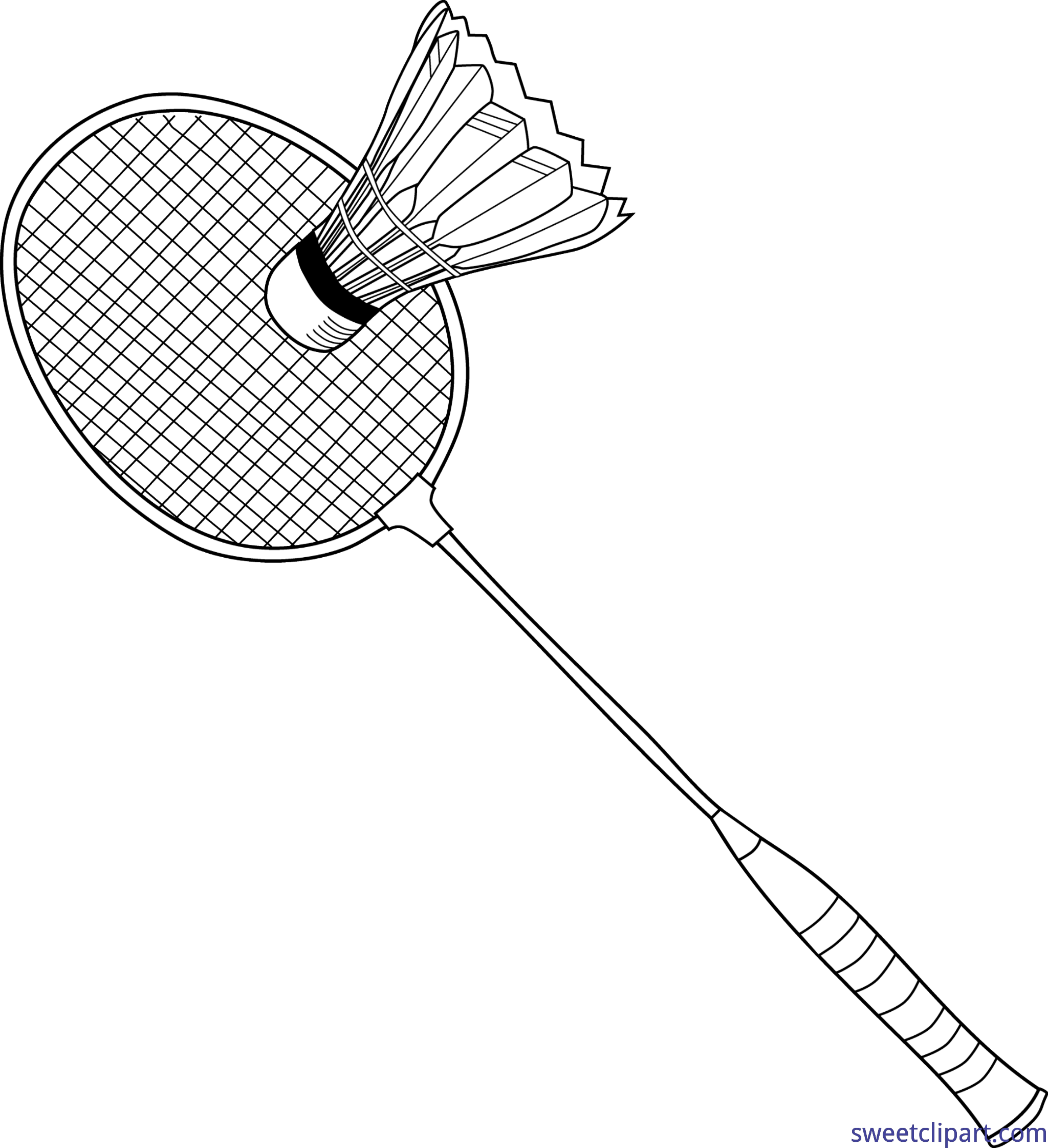 graphic black and white Badminton clipart. Lineart clip art sweet.
