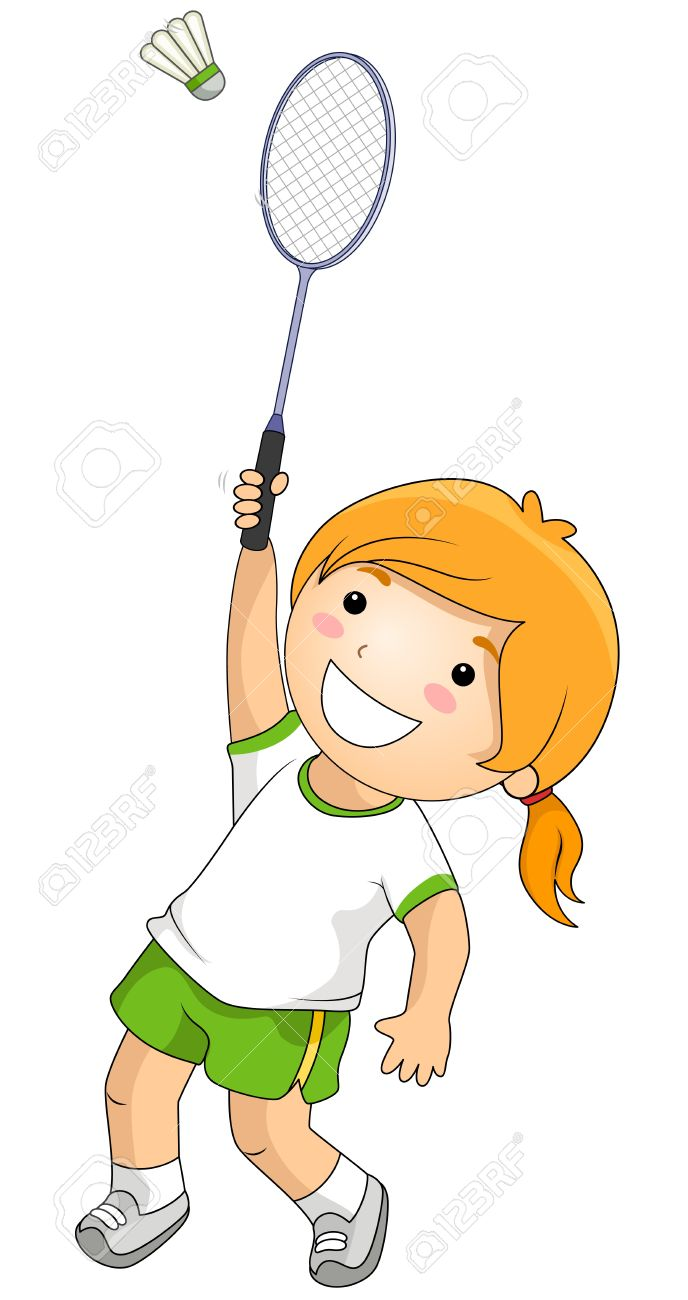 clipart royalty free stock Kids playing station . Badminton clipart kid play.