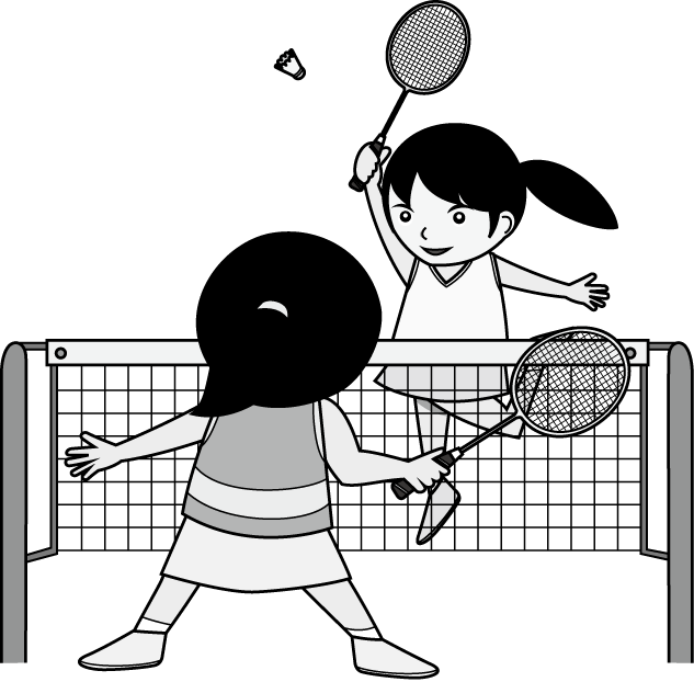 svg freeuse download Black and white free. Badminton clipart kid play.