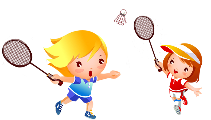 picture black and white library Badminton clipart kid play. Cartoon illustration transprent png.