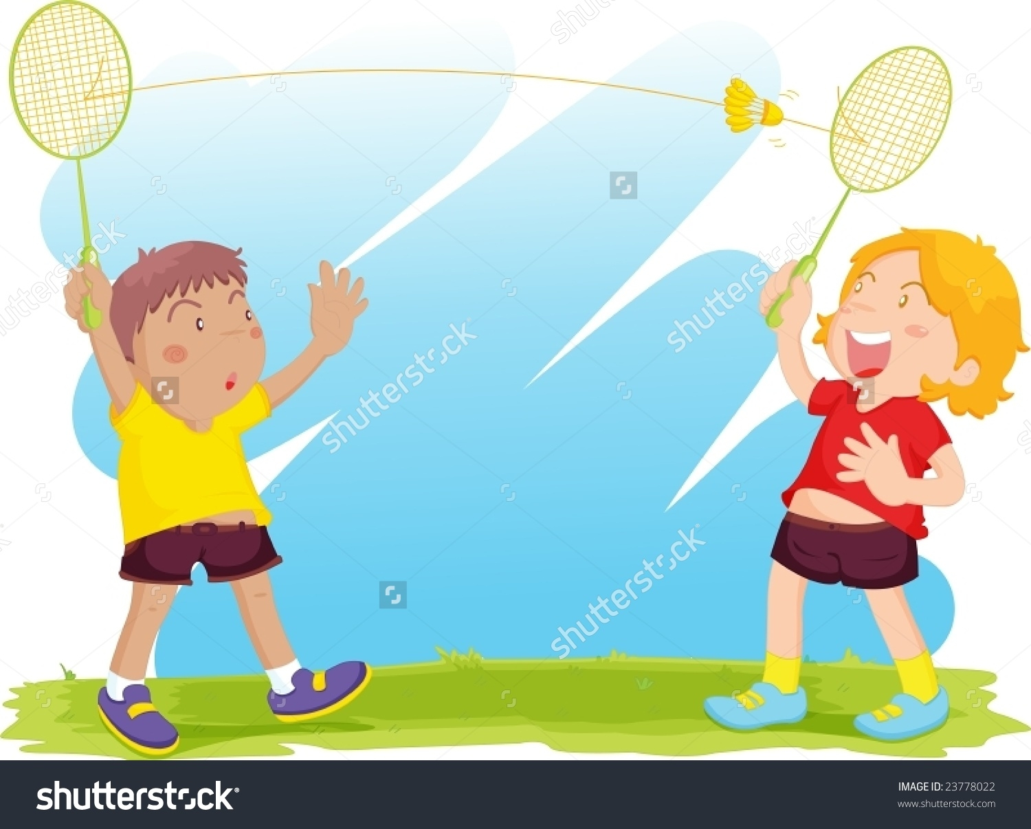 clip art transparent stock Badminton clipart kid play. Kids playing station .