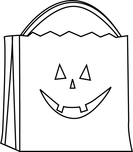 svg stock Jack o lantern clipart black and white. Gift bag panda free
