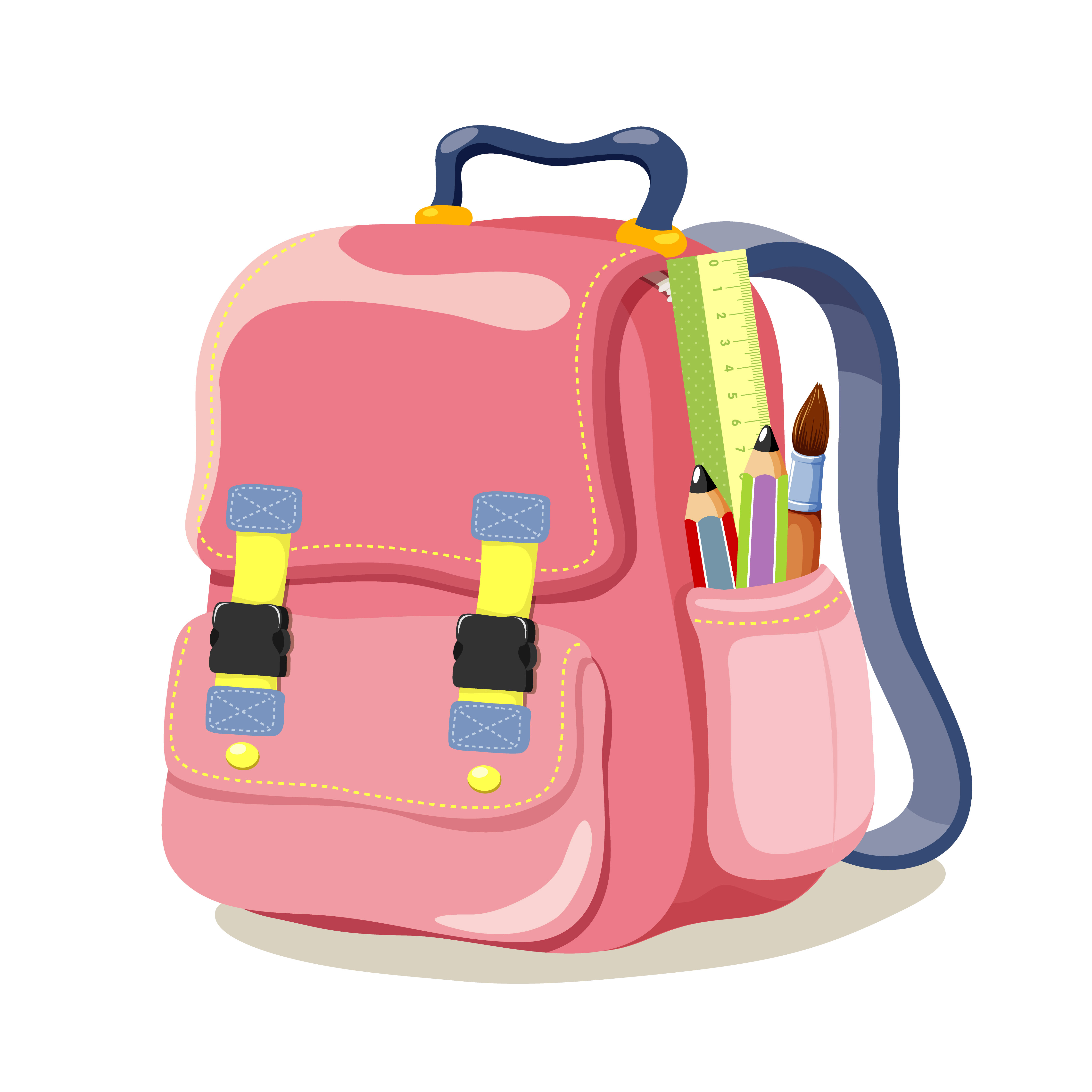 graphic transparent Bag vector. Colored school over millions