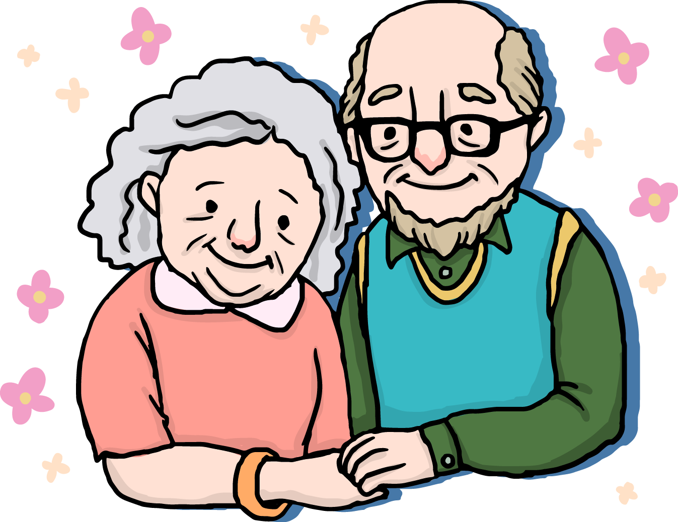 graphic freeuse library couple Old age Drawing Cartoon