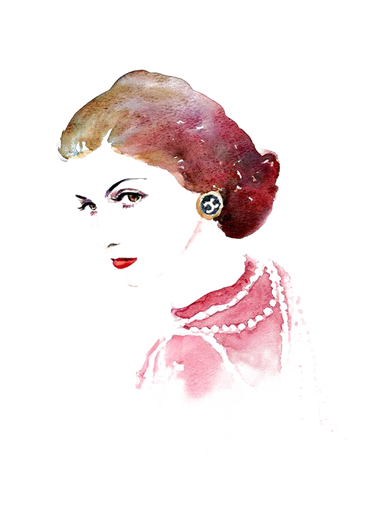 vector freeuse download Cheesecake drawing watercolor. Chanel coco painting portrait