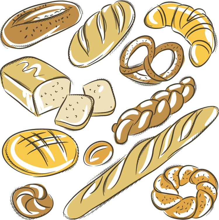 clipart library library Bakery croissant rye bread. Baguette drawing