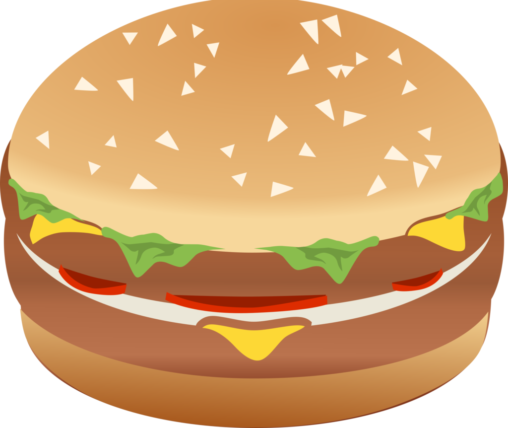 black and white Baked goods clipart.  burgers fast food.