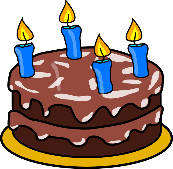 clip free library Birthday cake four candles. 4th clipart 4 year