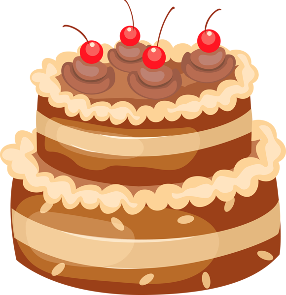 image library Baked goods clipart clip art. Chocolate cake with cherries.