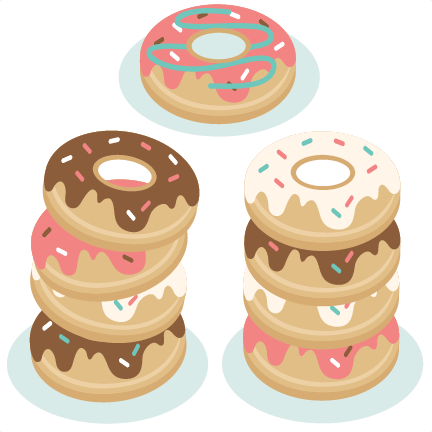 graphic royalty free download Breakfast clipart donut. Set svg scrapbook cut