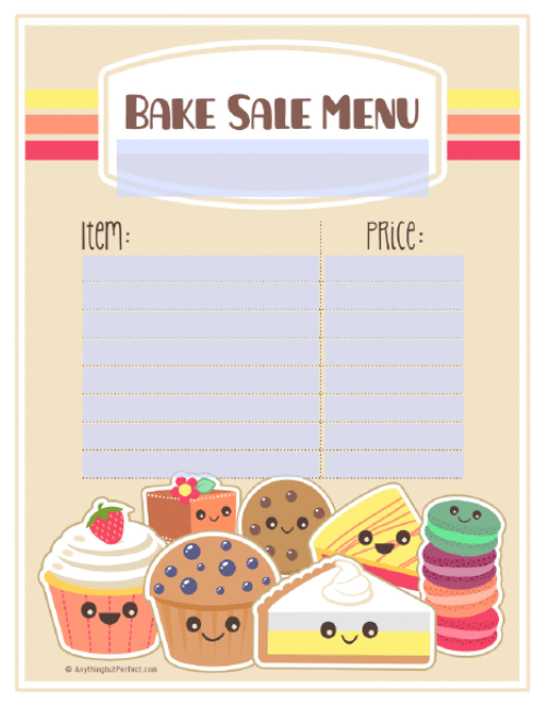 jpg free stock Baked goods clipart table top sale. Free printable pdf bake.