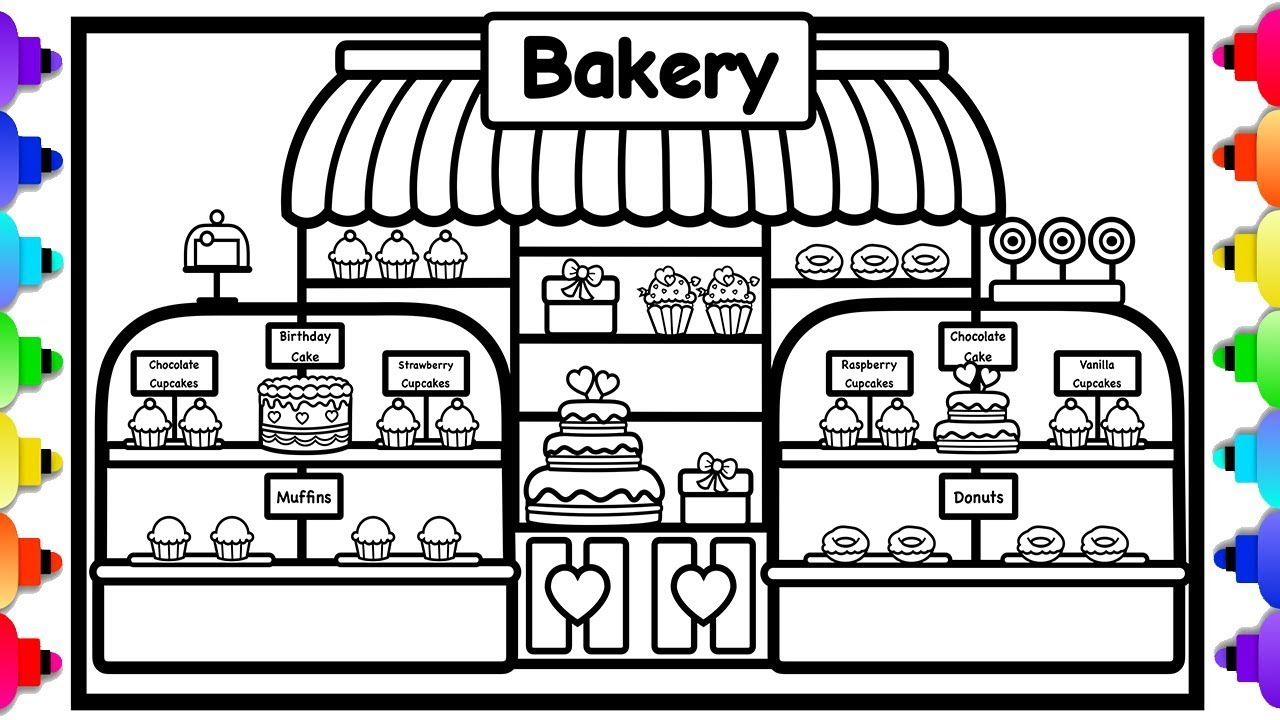 vector freeuse download Bakery drawing. Learn how to draw