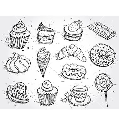 jpg freeuse download Hand drawn confectionery set. Baking drawing baked goods