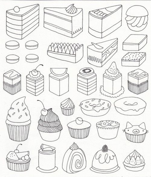 graphic Baking drawing baked goods. Cake more cute drawings