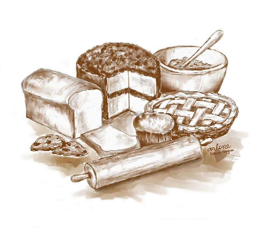 image free stock Vintage cool drawings . Baking drawing baked goods