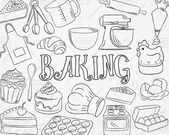 picture royalty free Baking drawing hat. Doodle vector pack kitchen