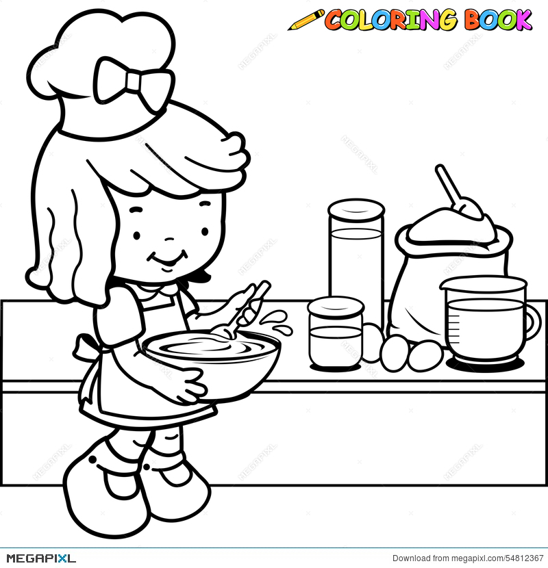 vector transparent download Baking drawing kid. Little girl cooking coloring