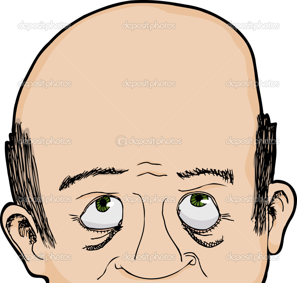 clip royalty free library Man looks up station. Bald clipart