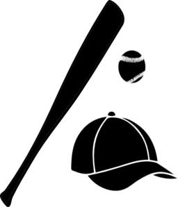clip black and white download Baseball Bat Ball Cap Clipart