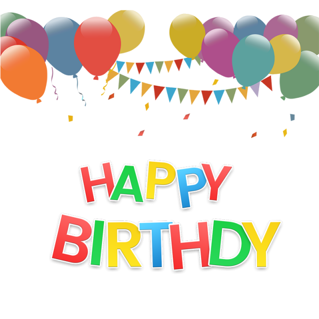 clip art freeuse download Vector balloon happy birthday. Text effect with png