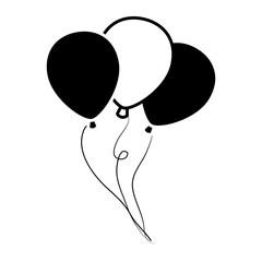 vector transparent Vector balloon black and white. Flying balloons stock photos