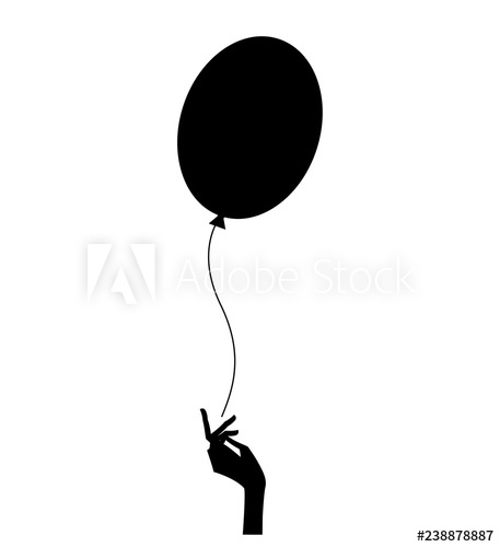clip free stock Vector balloon silhouette. Of the woman hand