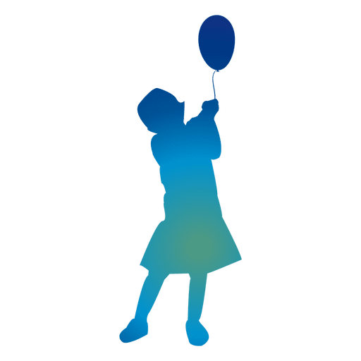 png library download Vector balloon silhouette. Girl playing with a