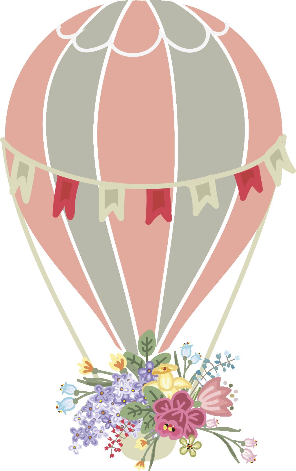 clip art freeuse download Hot air flower wedding. Baloon vector watercolor
