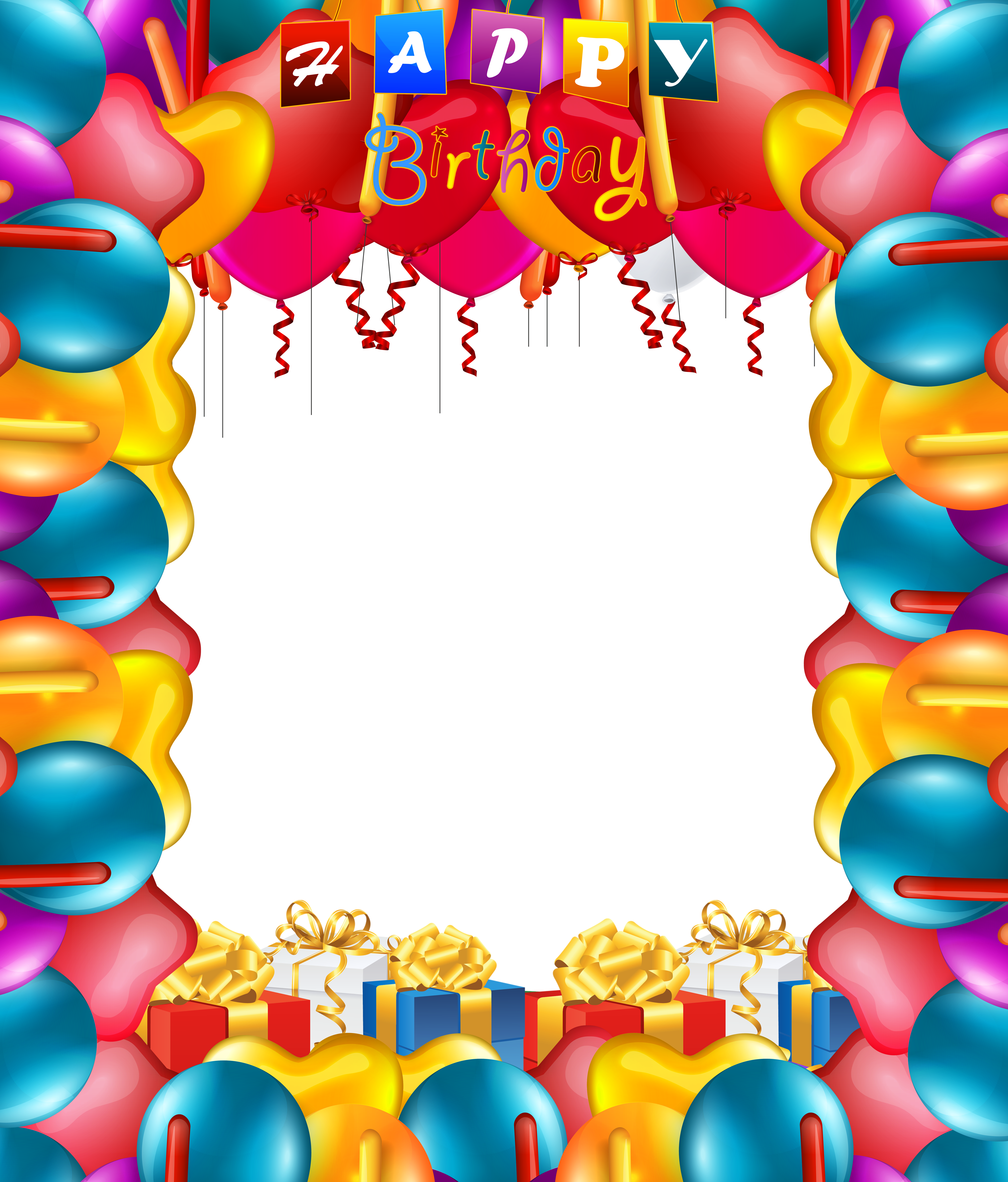 graphic free library Happy birthday balloons transparent. Balloon borders clipart.