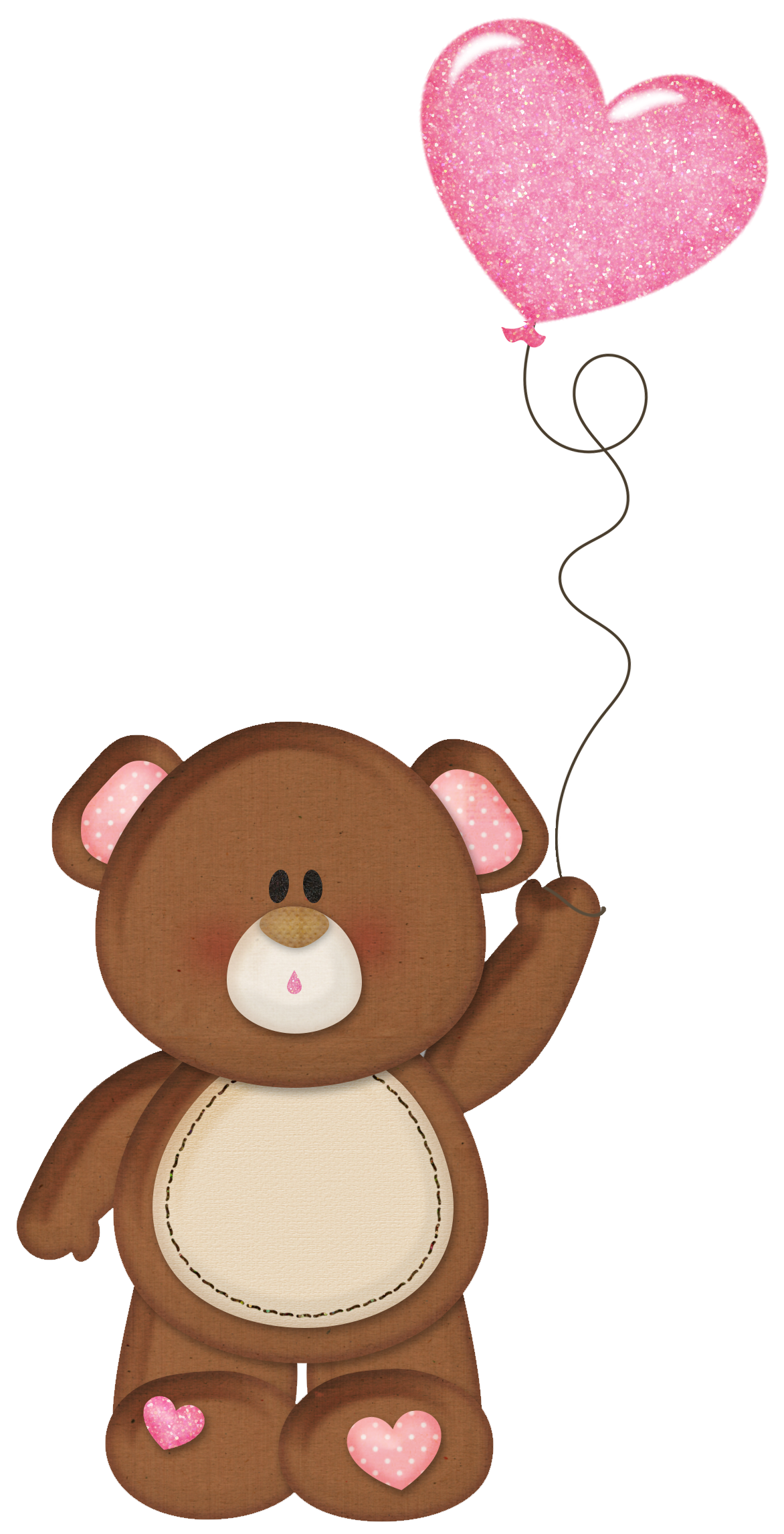 picture royalty free Brown teddy pink heart. Bear with balloons clipart
