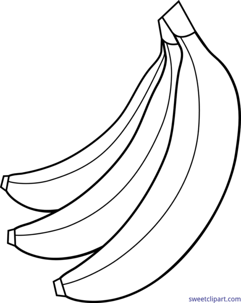 svg download Sweet clip art page. Bananas drawing black and white