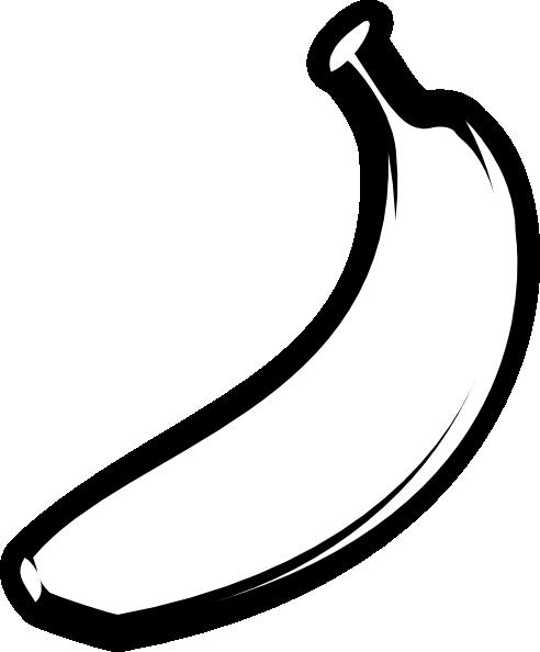 banner free Bananas vector black and white. Banana outline fat clip