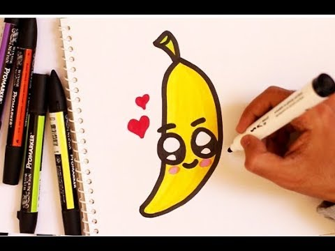 clip art freeuse Bananas drawing cute. How to draw a