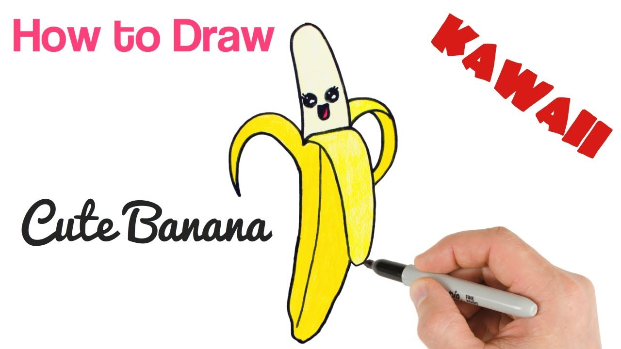 picture Bananas drawing cute. How to draw food